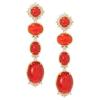Michael Valitutti Palladium Silver Red Coral Four-Stone Dangle Earrings