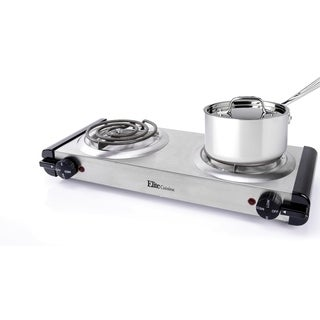 Elite Cuisine EDB-302SS Electric Stainless Steel Double Burner