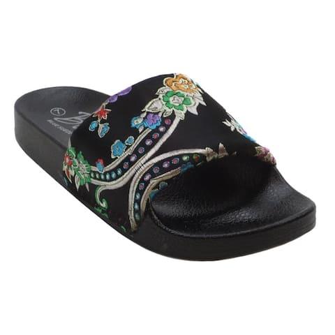 Blue Womens GIGI ASIA Oriental Embroidered Canvas Pool Slide Sandals