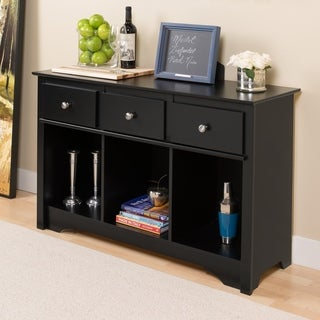 Prepac Broadway Black Wood Contemporary 3-drawer Living Room Console
