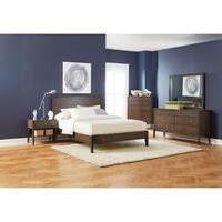 Lompoc Mid-century Modern Brown Walnut Bed
