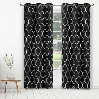 Duck River Alena Faux Velvet Metallic Blackout Curtain Panel Pair