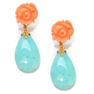Michael Valitutti Palladium Silver Salmon Coral & Amazonite Drop Earrings