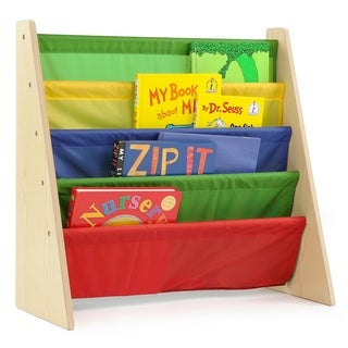 Tot Tutors Kids Book Rack Storage 4 Pocket Bookshelf, Natural/Primary (3 options available)