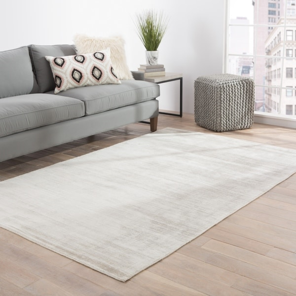 Lizette Handmade Solid Gray Area Rug - 10' x 14'