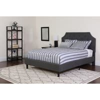 Tufted Grey Upholstered Queen Size Platform Bed