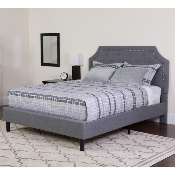 shop tufted grey upholstered queen size platform bed