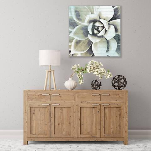 ArtWall Blue Succulent Wood Pallet Art