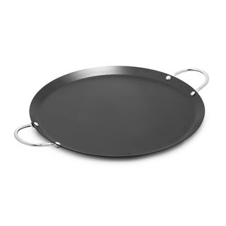 IMUSA CAR-52023 Carbon Steel Round Comal with Metal Handles 14-Inch, Black