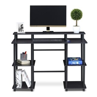 Furinno Turn-N-Tube Computer Desk with Top Shelf, Espresso/Black 17045EX/BK