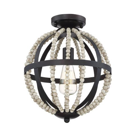 The Curated Nomad Tran Oil Rubbed Bronze 1-light Flush-mount Ceiling Light
