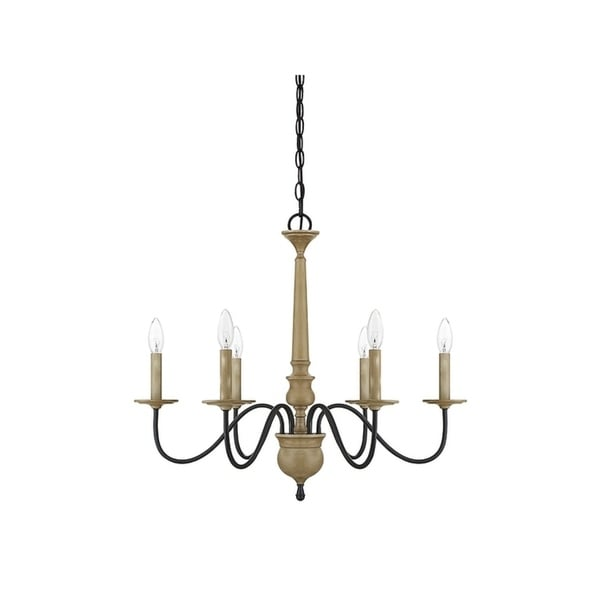 The Gray Barn Lunasa 6-light Chandelier with Distressed Wood. Opens flyout.