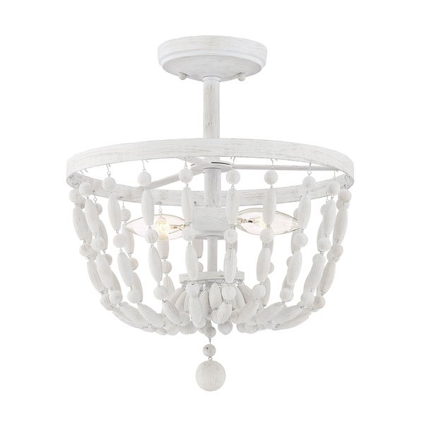 The Curated Nomad Grant Distressed Wood 2-light Semi-flush Mount Ceiling Light. Opens flyout.
