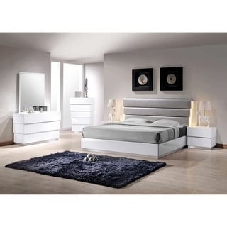 Best Master Furniture 5 Pcs White/ Silver Lacquer Bedroom Set