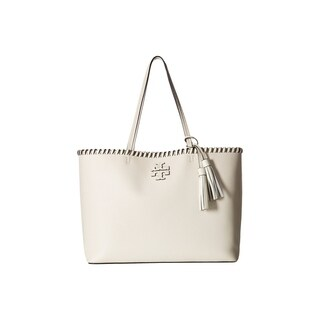 Tory Burch Mcgraw Whipstitch Ivory Leather Tote
