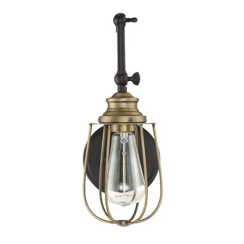 Carbon Loft McKinnon 1-light Wall Sconce with English Rubbed Bronze and Brass Accents