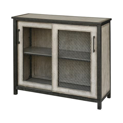 Uttermost Dylan Aged Grey Wire-mesh Accent Cabinet