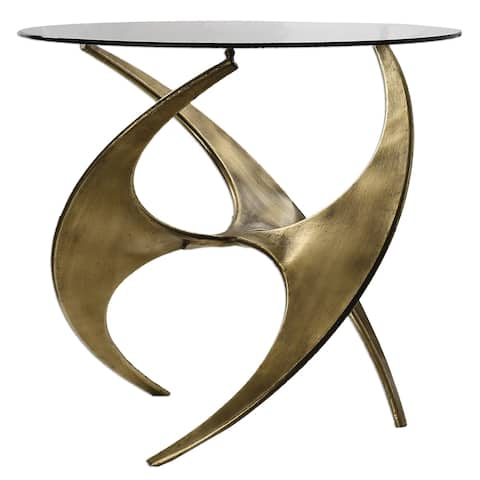 Uttermost Graciano Antique Gold Glass Accent Table