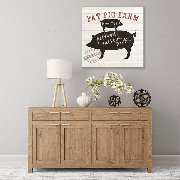 ArtWall Farm Linen Pig Black Wood Pallet Art