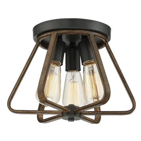 Carbon Loft Melville 3-light Flush Mount with Weathered Wood and Copper Gold
