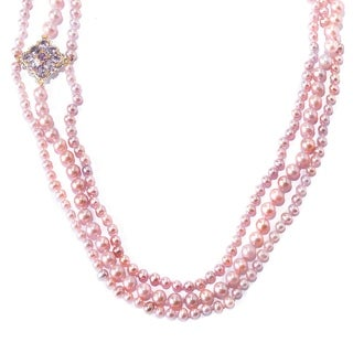 Michael Valitutti Palladium Silver Lavender Freshwater Cultured Pearl Pink Purple Amethyst Necklace