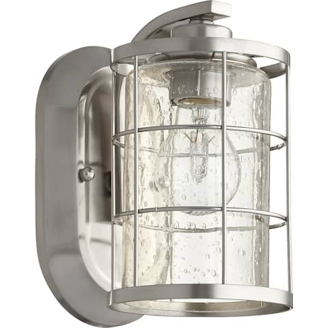 Ellis Satin Nickel and Clear Seeded 1-light Wall Light