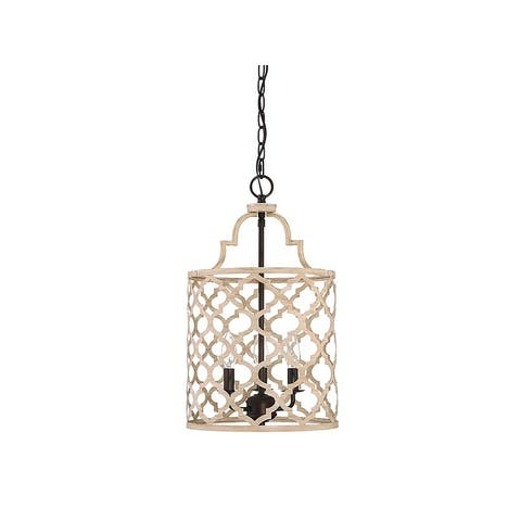 The Curated Nomad Corona 3-light Foyer Pendant in Light Wood and Oil Rubbed Bronze