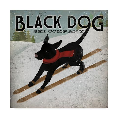 Ryan Fowler 'Black Dog Ski' Canvas Art