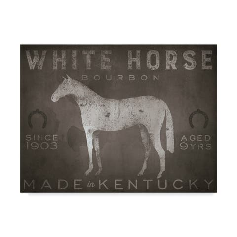 Ryan Fowler 'White Horse With Words' Canvas Art