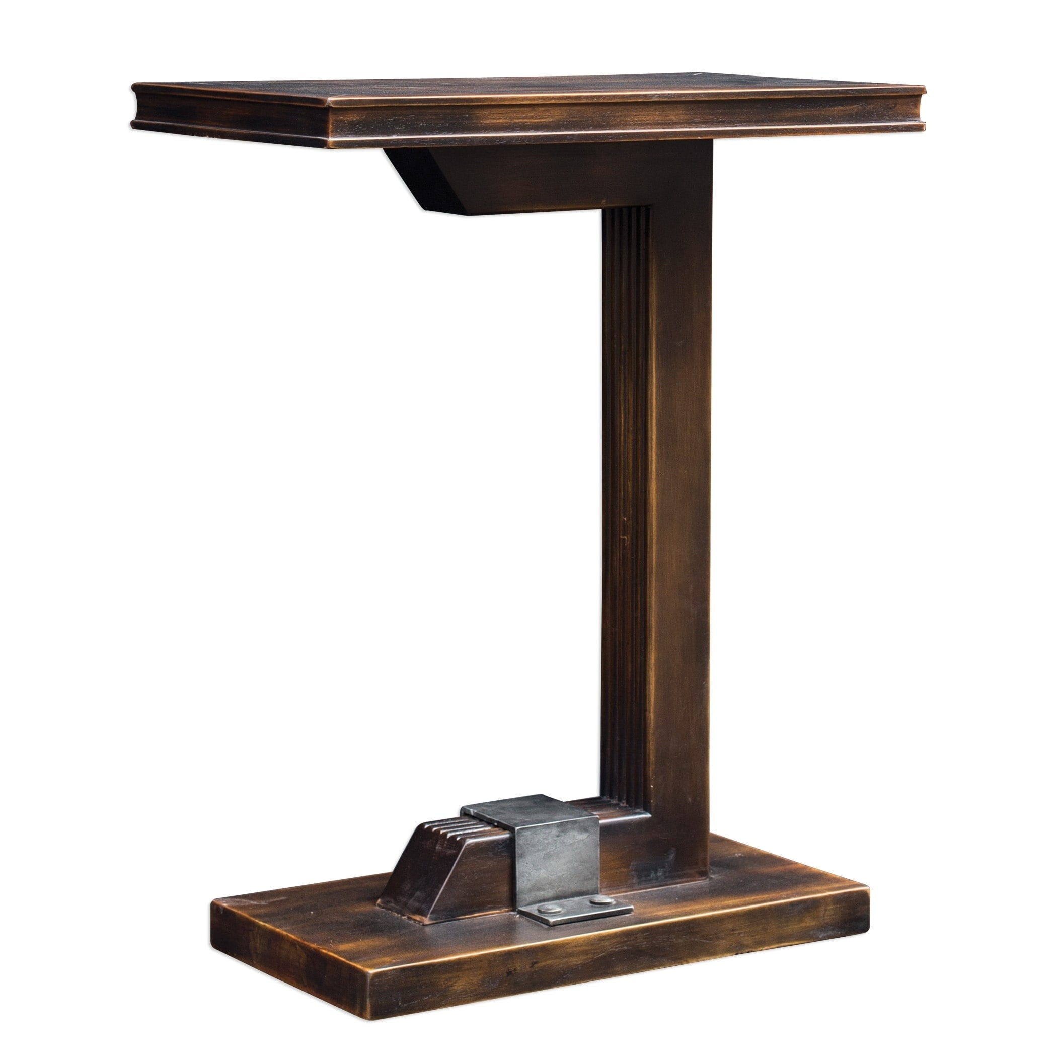 - Shop Uttermost Deacon Mahogany Industrial Accent Table - Overstock