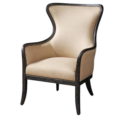 Uttermost Zander Weathered Black Wing Chair