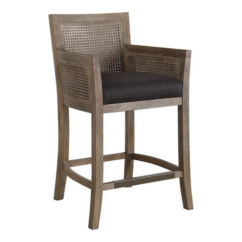 Uttermost Encore Rubbed Sandstone and Dark Grey Counter Stool
