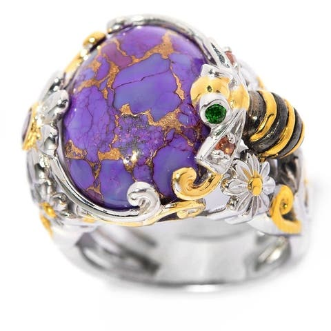 Michael Valitutti Palladium Silver Purple Mohave Turquoise & Multi-Gem Bee & Flower Ring