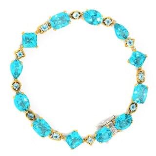 Michael Valitutti Palladium Silver Paraiba Topaz & Swiss Blue Topaz Line Bracelet (2 options available)