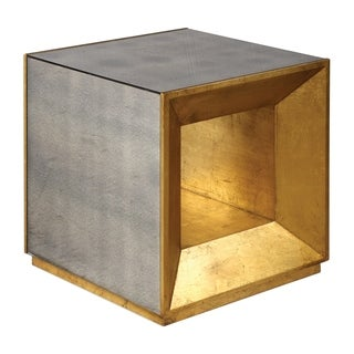 Uttermost Flair Antiqued Gold Leaf Cube Table
