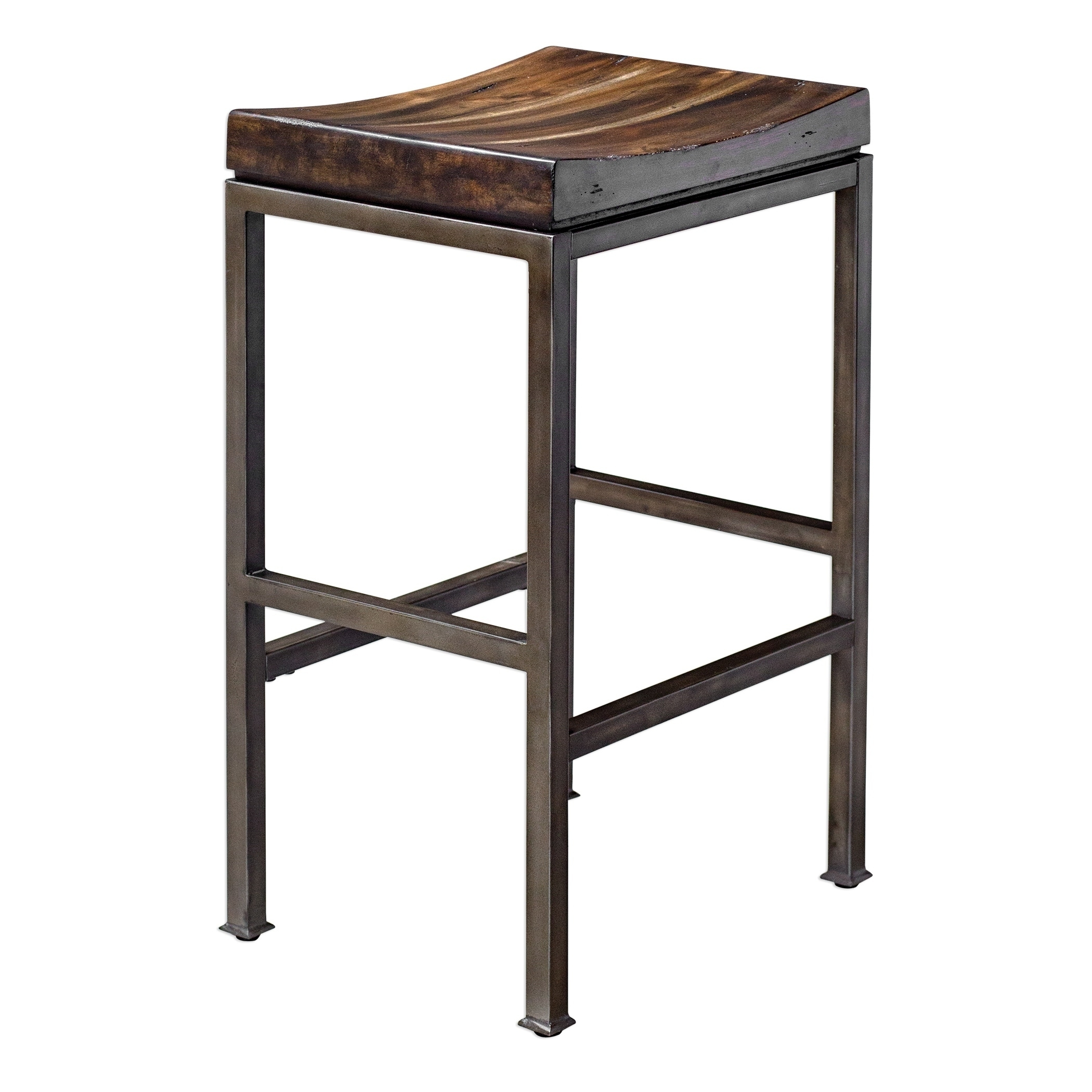 Magnificent Uttermost Beck Dark Walnut Industrial Bar Stool Ibusinesslaw Wood Chair Design Ideas Ibusinesslaworg