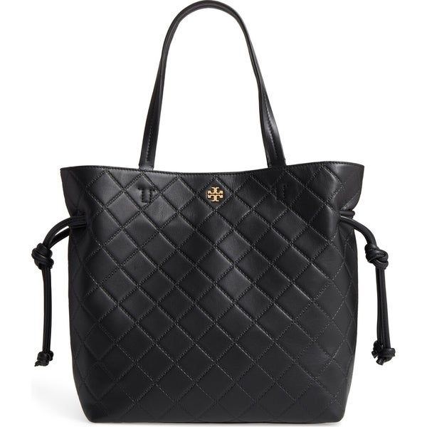 7377edb0180e Shop Tory Burch Georgia Slouchy Quilted Black Leather Tote - Free ...