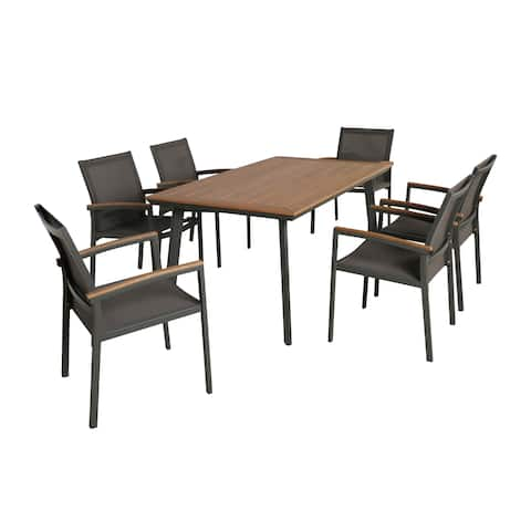 Waldrof Outdoor 7 Piece Dining Set with Wood Top by Christopher Knight Home