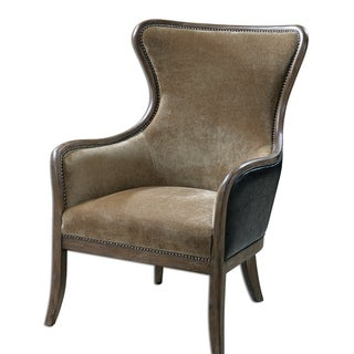 Link to Uttermost Snowden Caramel Tan Solid Wood Wing Chair Similar Items in Living Room Furniture