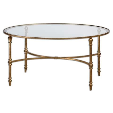 Uttermost Vitya Gold Leaf Glass Coffee Table