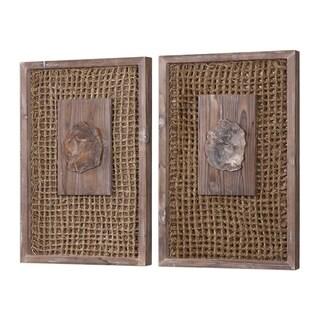 Uttermost Endicott Light Grey Petrified Wood Panel (Set of 2)
