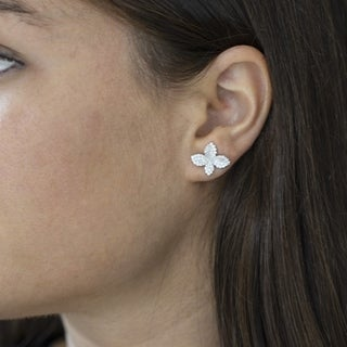"Antwerp Silver ""Mulit-Pave Flower"" Earrings with Cubic Zirconia"
