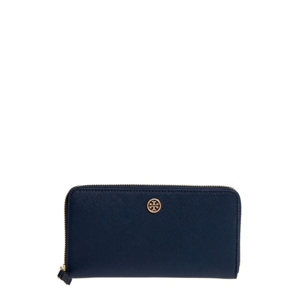 6a6f1dcf08b Shop Tory Burch Robinson Zip Royal Navy Continental Wallet - Free ...