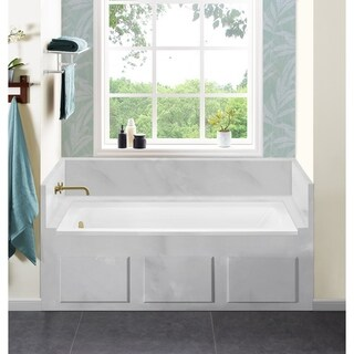 Swiss Madison Voltaire Acrylic Right-Hand Drain with Integral Tile Borders Rectangular Drop-in Bathtub