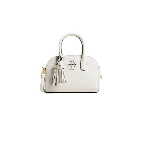 Tory Burch Mcgraw Small Leather Ivory Satchel