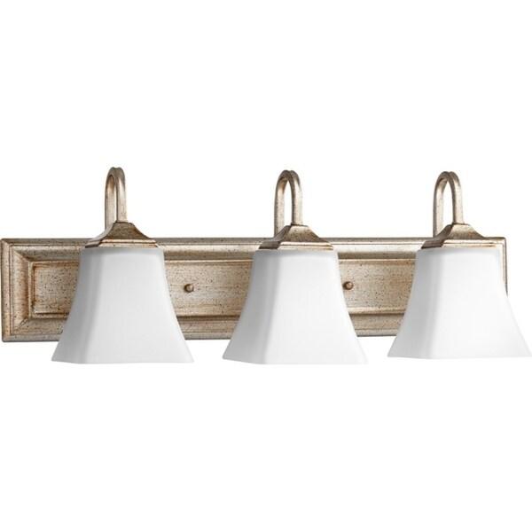 3 light vanity fixture galvanized aged silver leaf and satin opal 3light vanity lighting shop free