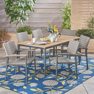 Fiddle Outdoor 7 Piece Dining Set with Wood Top by Christopher Knight Home