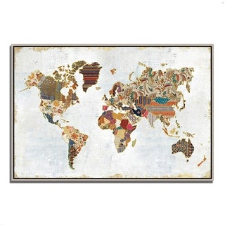 Laura Marshall 'Pattern World Map' Gallery-wrapped Canvas Fine Art Giclee Print