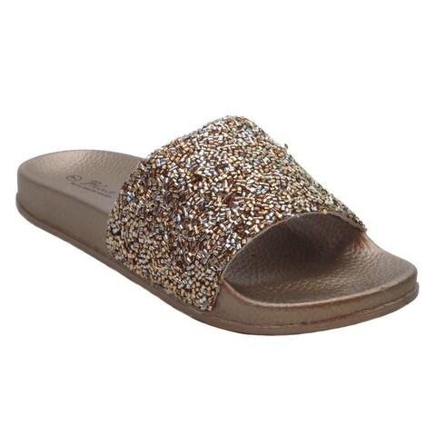 Blue Womens DIDI SEQUIN Rhinestone Pool Slide Sandals