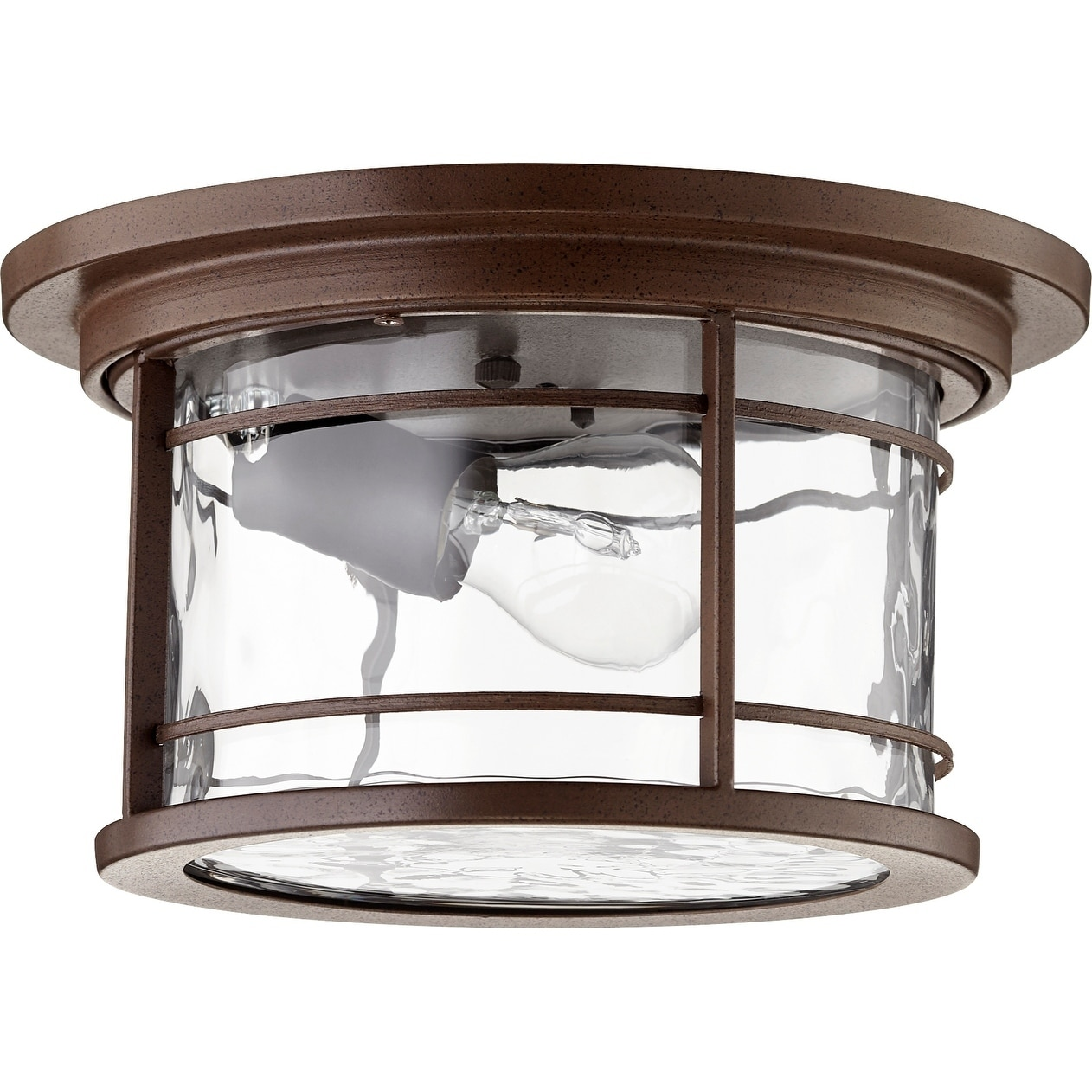 Larson Oiled Bronze And Clear Hammered Glass 1 Light Outdoor Ceiling Mount Overstock 22041023